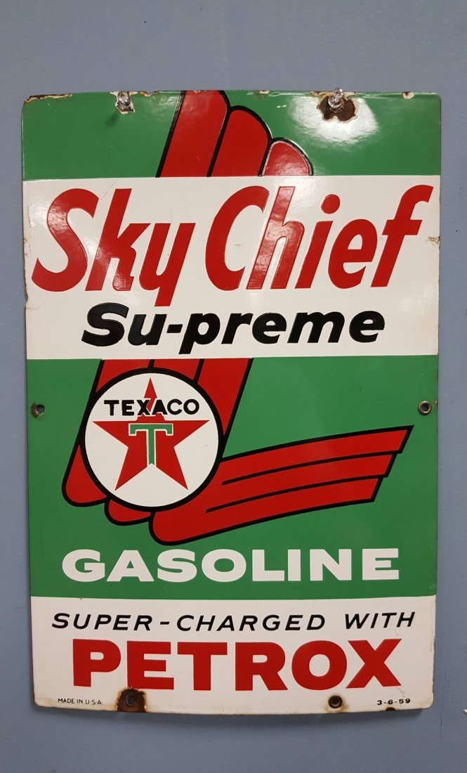 Porcelain Sky Chief Su-preme Texaco Gasoline Pump Plate