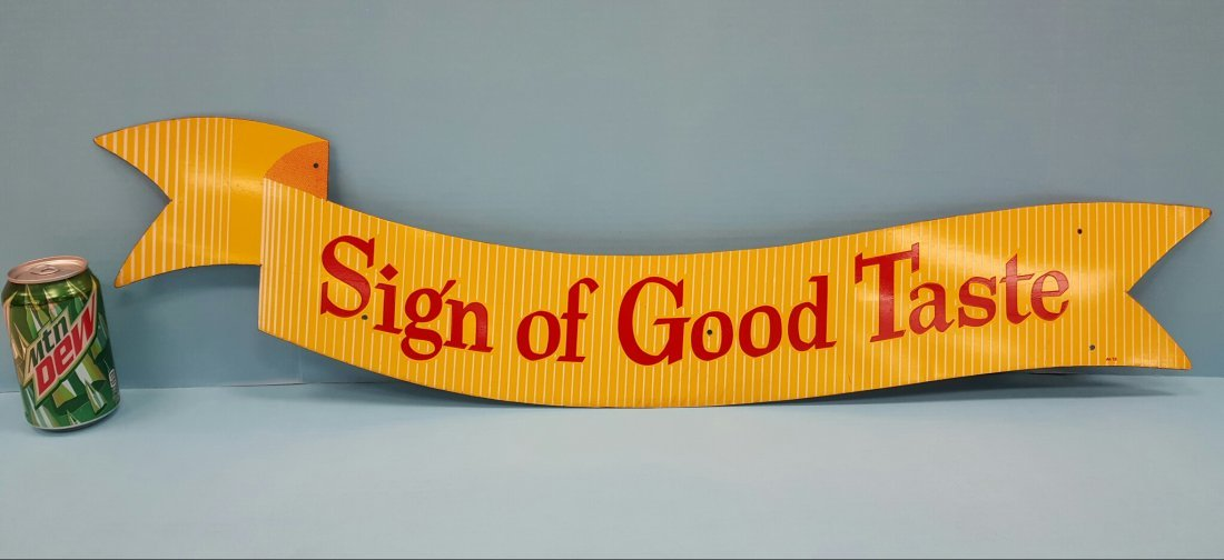 Scarce Coca Cola Sign of Good Taste Metal Ribbon Sign