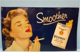 Scarce 1954 Smooth Viceroy Cigarettes Tin Sign