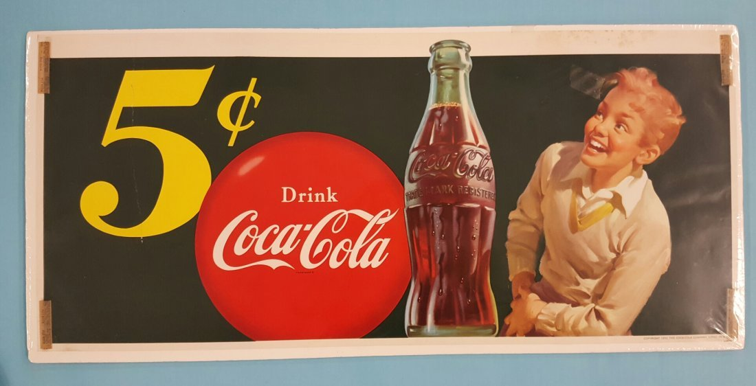 1950 NOS 5 Cent Coca Cola Paper Window Sign