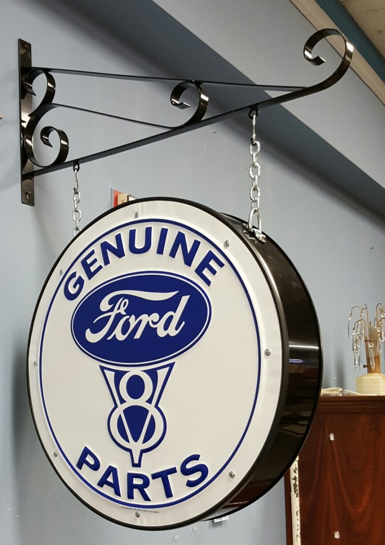 2 sided Genuine Ford Parts Sign with Bracket