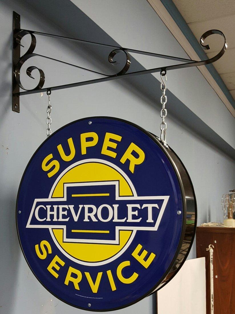 2 sided Chevrolet Super Service Sign w Hanging Bracket