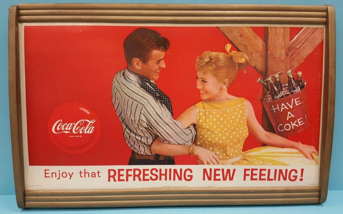 Coca Cola Cardboard Sign in Wood Frame