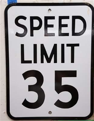 Porcelain Speed Limit 35 Sign
