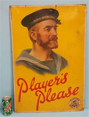 Tin Players Please Tobacco Sign