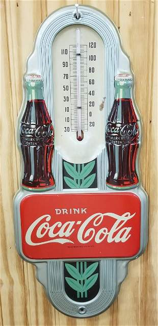 NOS 1941 Coca Cola  Double Bottle Thermometer