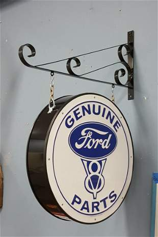 2 sided V8 Ford hanging sign with bracket
