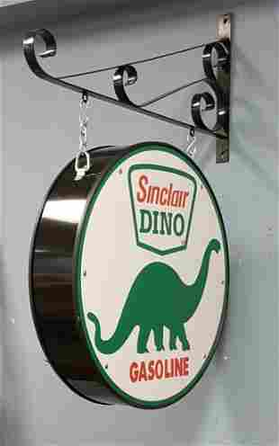 2 sided Sinclair Gasoline Hanging Sign with Bracket