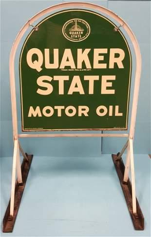 2 sided Quaker State Tombstone Sidewalk Sign w/ Bracket