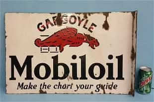 Porcelain Mobiloil Gargoyle Flange sign