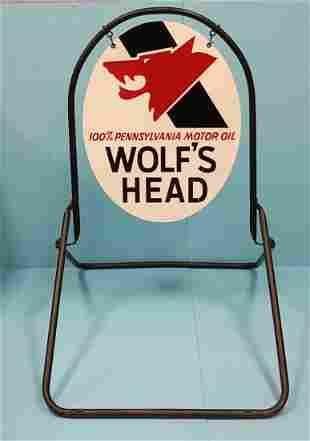 2 sided Wolf's Head Motor Oil Sidewalk Sign w/ stand