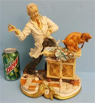 Capodimonte Veterinarian & Dog Porcelain Statue