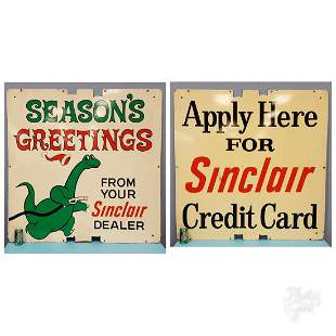 1963 2 sided Sinclair Masonite Service Station Sign