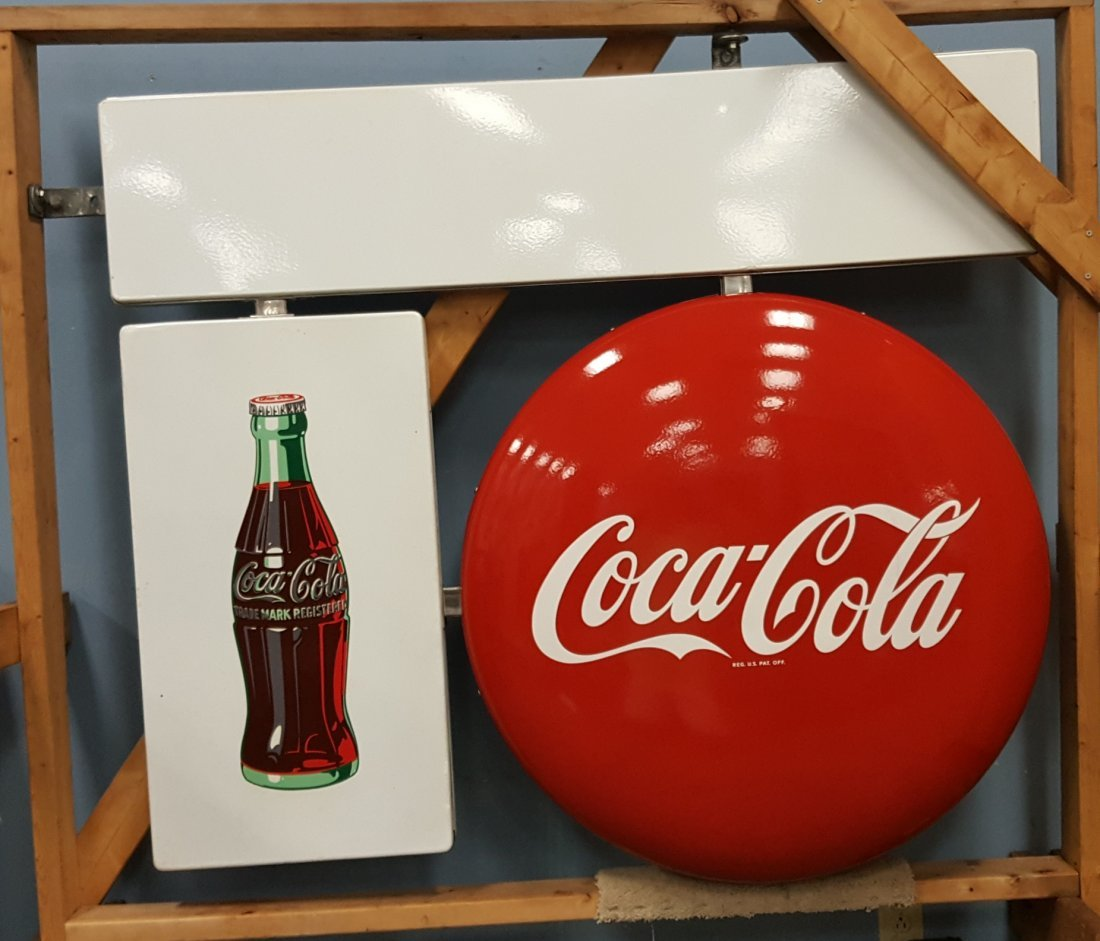NOS 1948 Porcelain Coca Coca 2 sided hanging sign