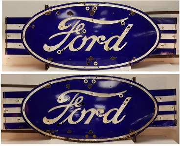 Porcelain 2 sided Ford Neon w/Wings  Dealership Sign
