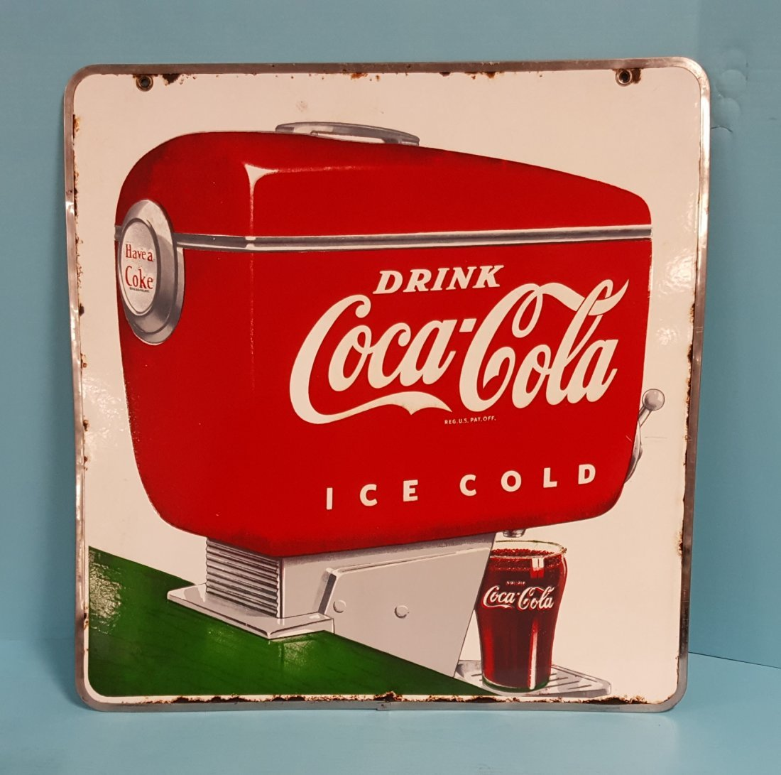 Porcelain 2 side Coca Cola Soda Fountain Dispenser sign