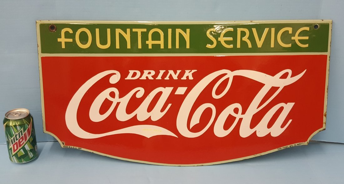 1934 2 sided Porcelain Coca Cola Fountain Service Sign