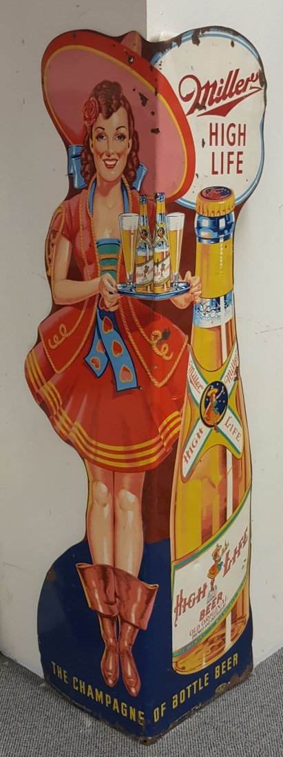 RARE 6ft Miller High Life Die Cut Girl Corner Sign