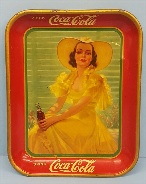 1938 Coca Cola Tray Lady In Yellow Dress