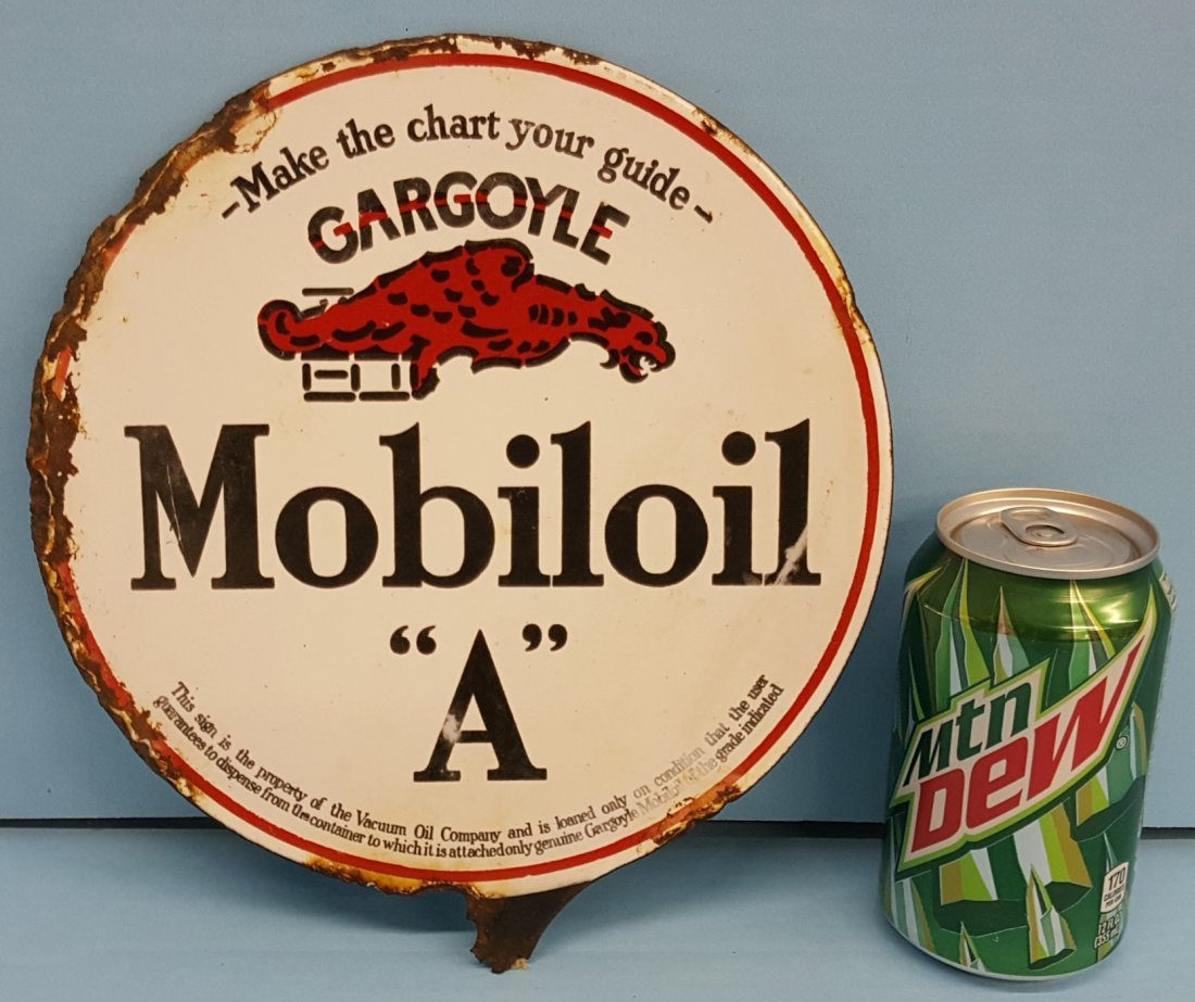1920's Porcelain Gargoyle Mobiloil  'A' 2 sided sign
