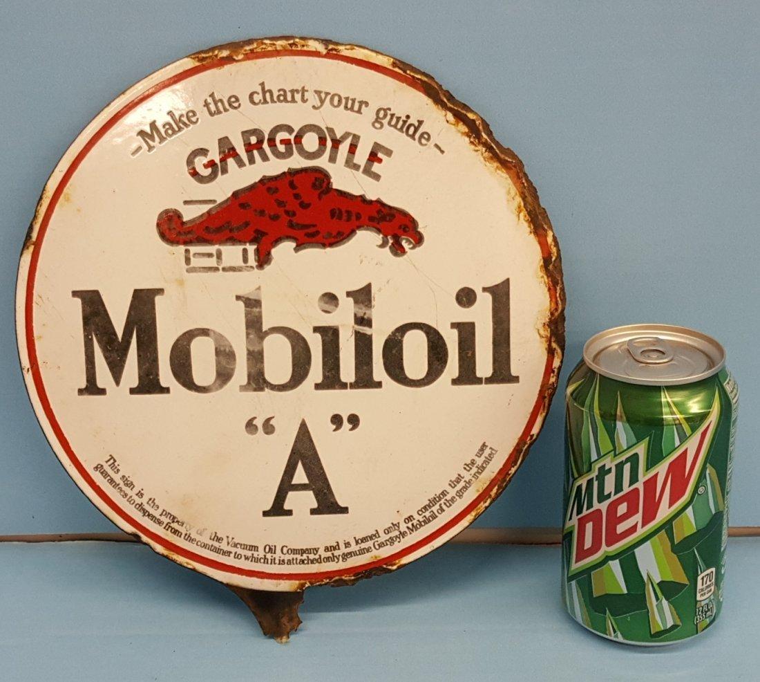 1920's Porcelain Gargoyle Mobiloil  'A' 2 sided sign - 2