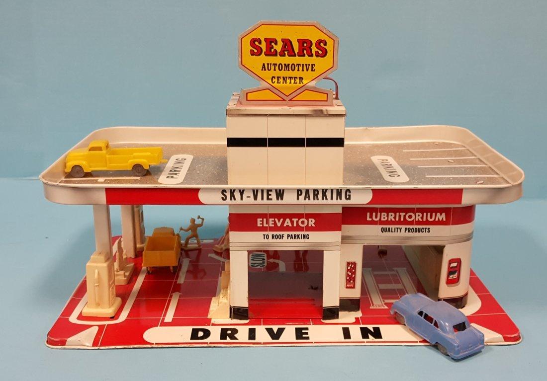 Sears Automotive Center Tin Toy Service Station