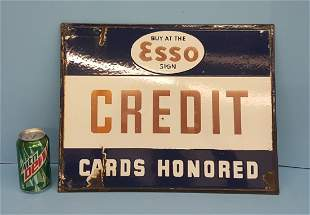 Porcelain Double sided Esso Credit Cards Honored Sign