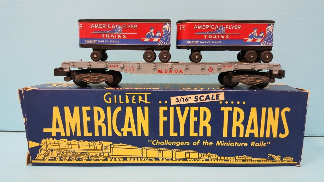 American Flyer 956 Piggyback Car complete w/trailers
