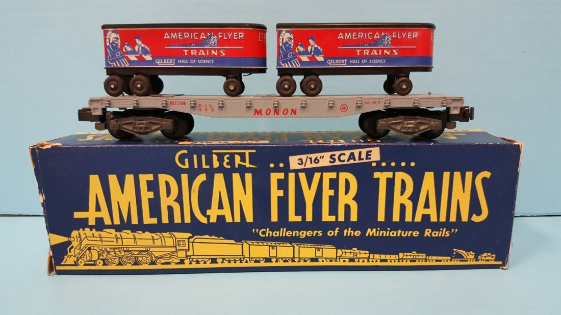 American Flyer 956 Piggyback Car complete w/trailers - 2