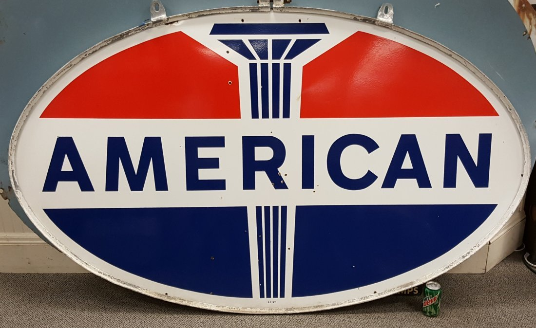 Porcelain double sided American Dealership sign w/ring