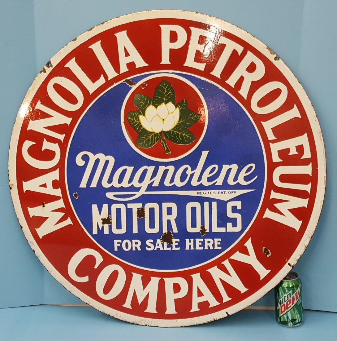 Porcelain Magnolia Petroleum Company sign
