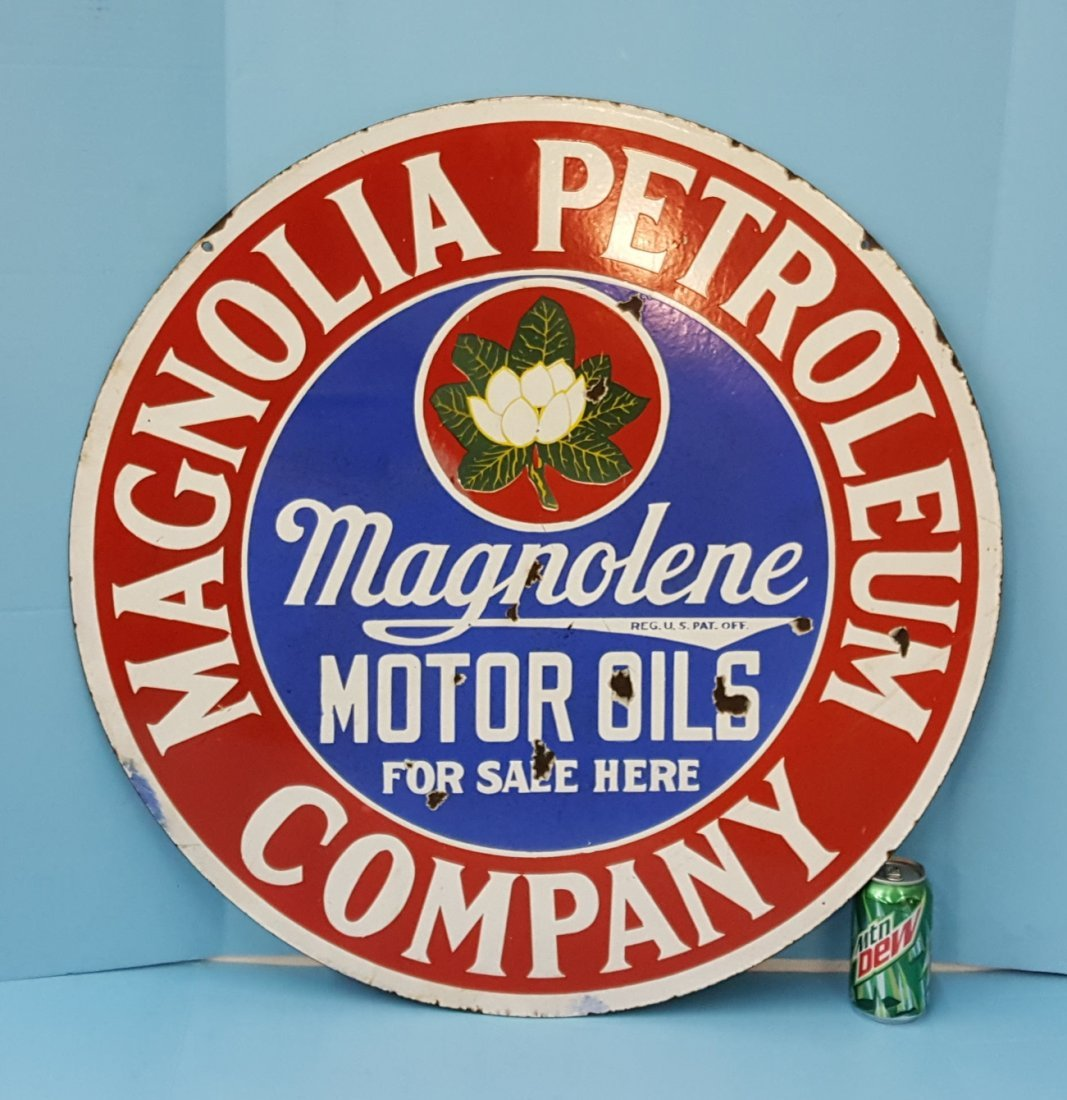 Porcelain Magnolia Petroleum Company sign - 2