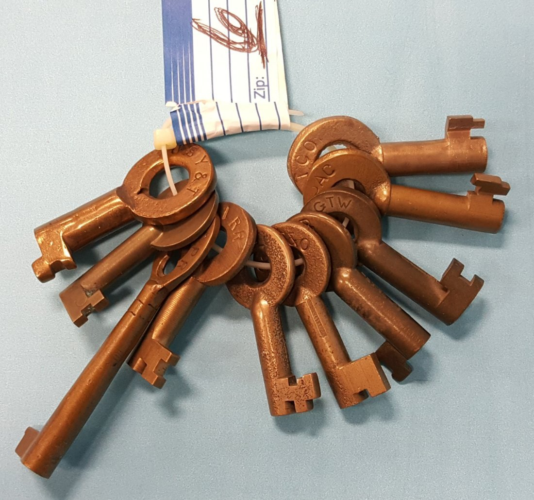 Lot of 10 Railroad keys from Lifetime Collection