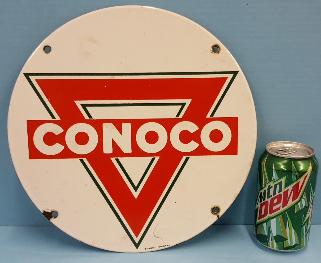 Porcelain CONOCO Gas Pump Plate Burdick Chicago