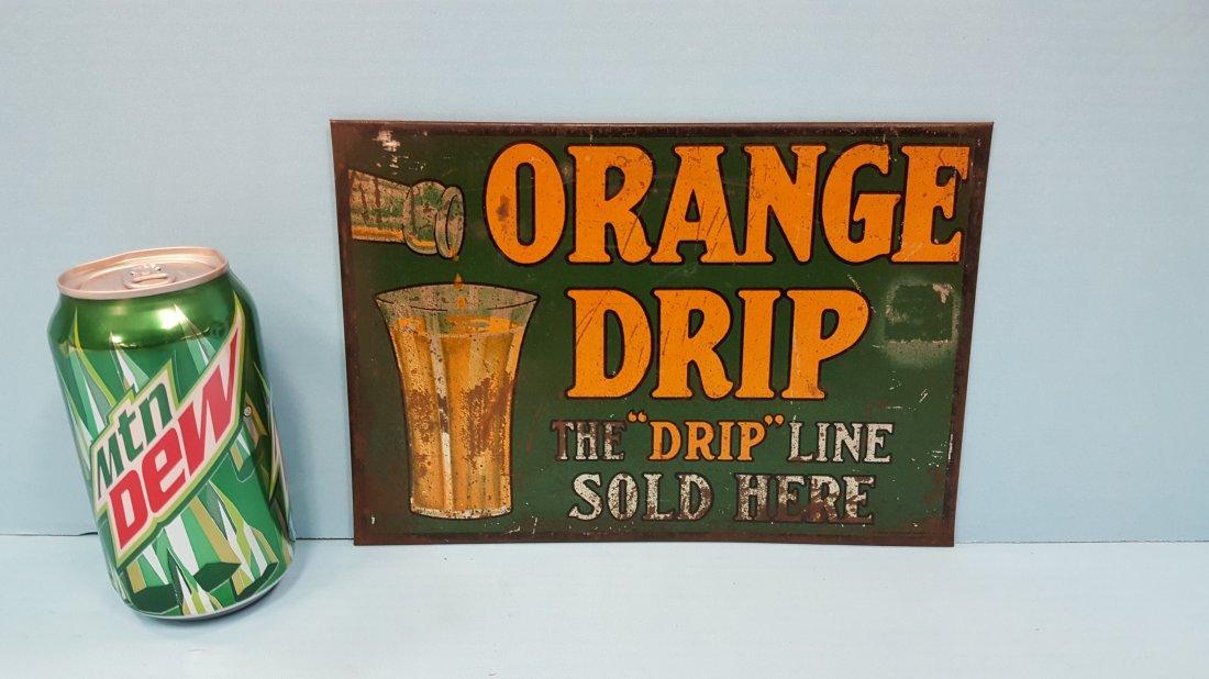 RARE 1915 Orange Drip Tin Sign