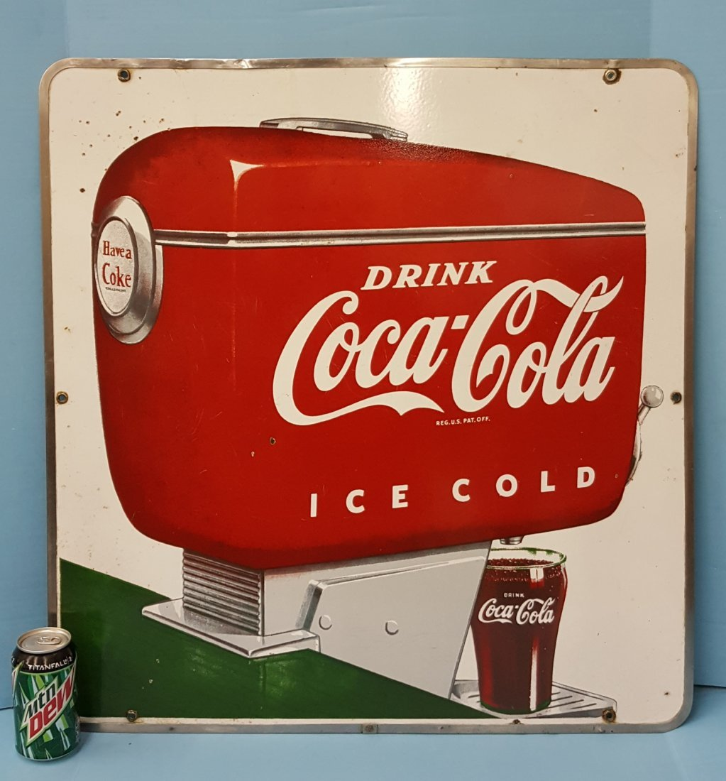 Porcelain Drink Coca Cola Fountain Dispenser Sign