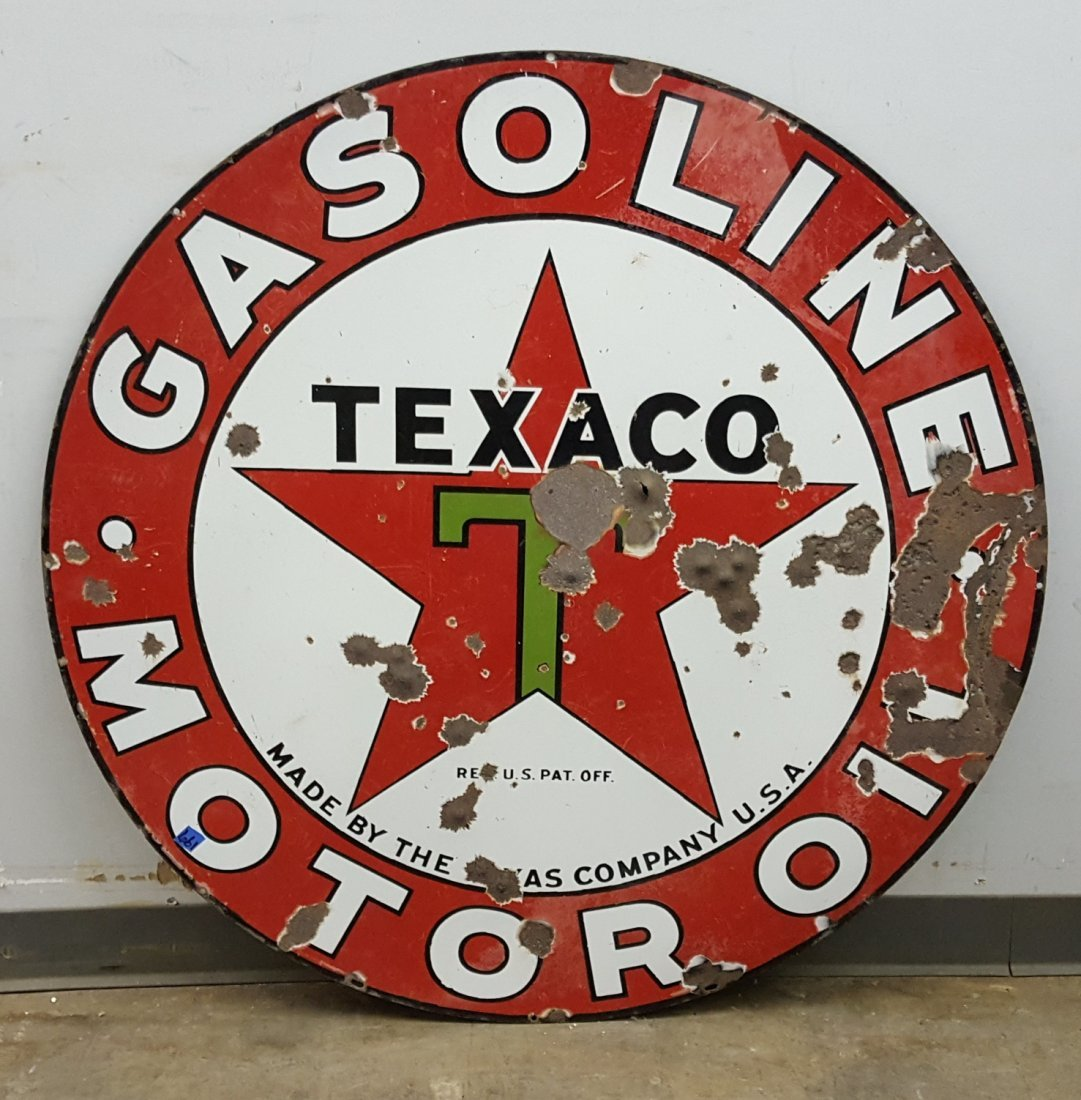 Porcelain Double Sided Texaco Motor Oil Sign