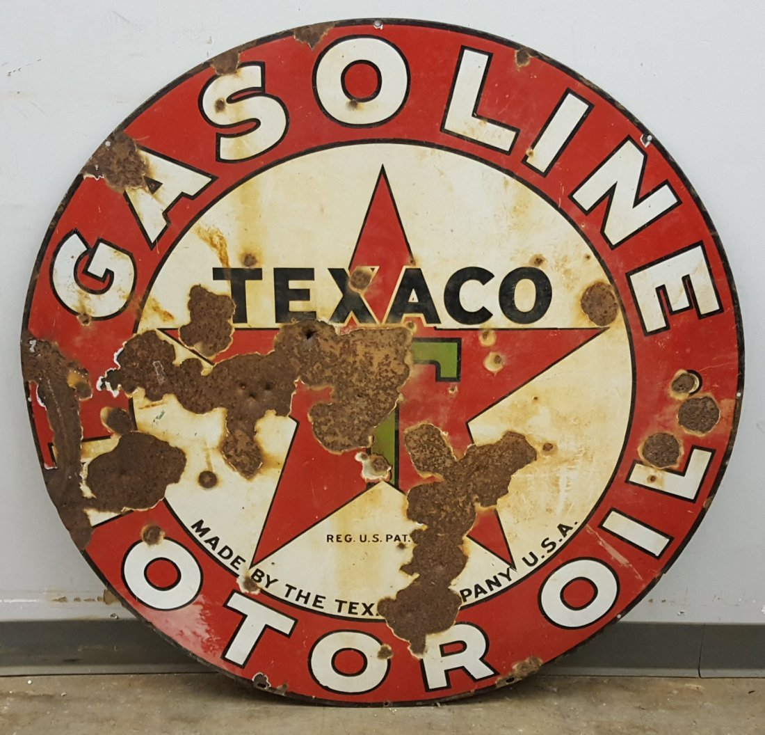 Porcelain Double Sided Texaco Motor Oil Sign - 2