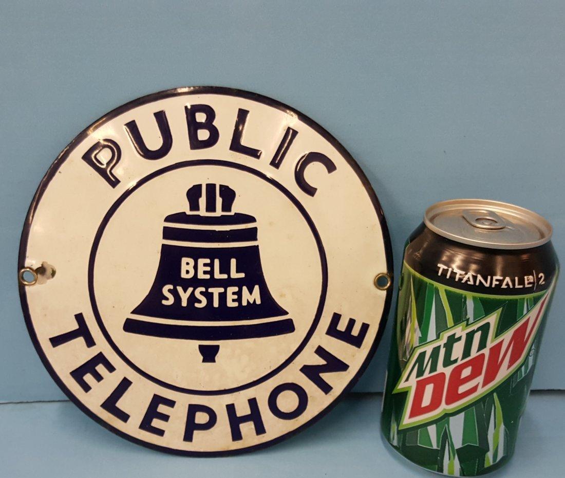 1920's Porcelain Public Telephone Circle Sign