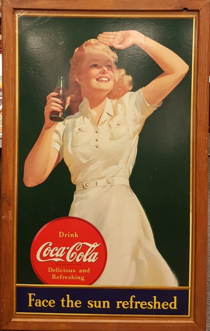 1941 Coca Cola Cardboard Face The Sun Refreshed Sign