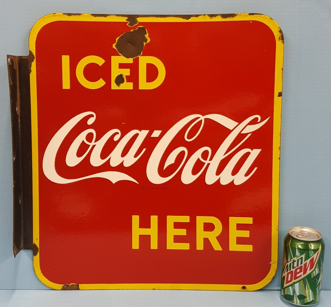Porcelain Iced Coca Cola Here Flange Sign