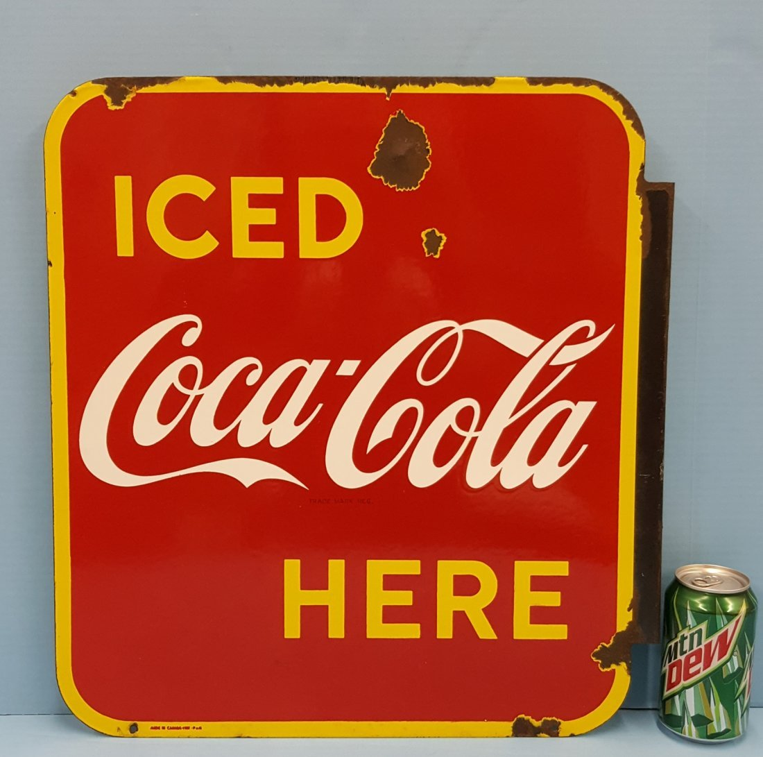 Porcelain Iced Coca Cola Here Flange Sign - 2