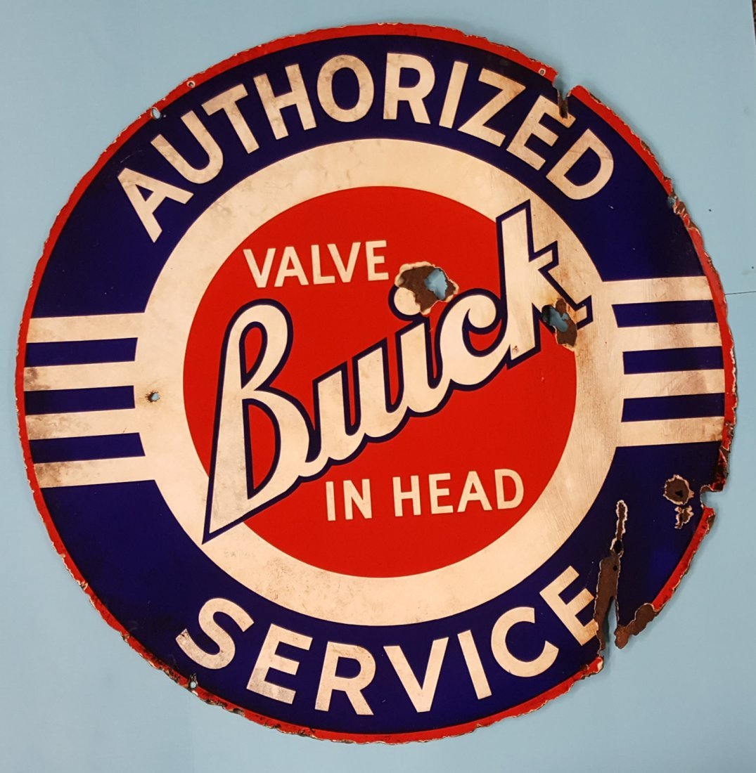 Porcelain Buick Valve In Head Authorized Service Sign
