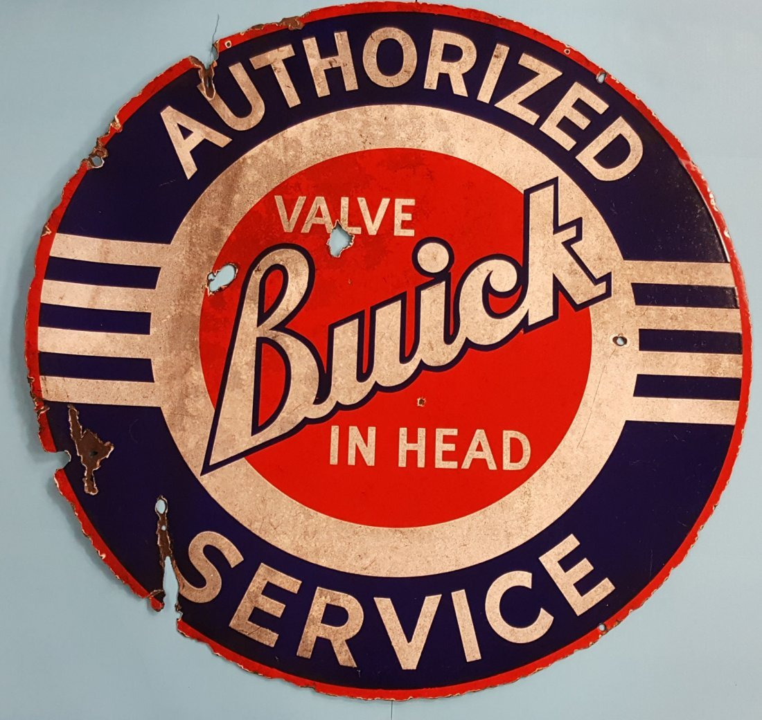 Porcelain Buick Valve In Head Authorized Service Sign - 2