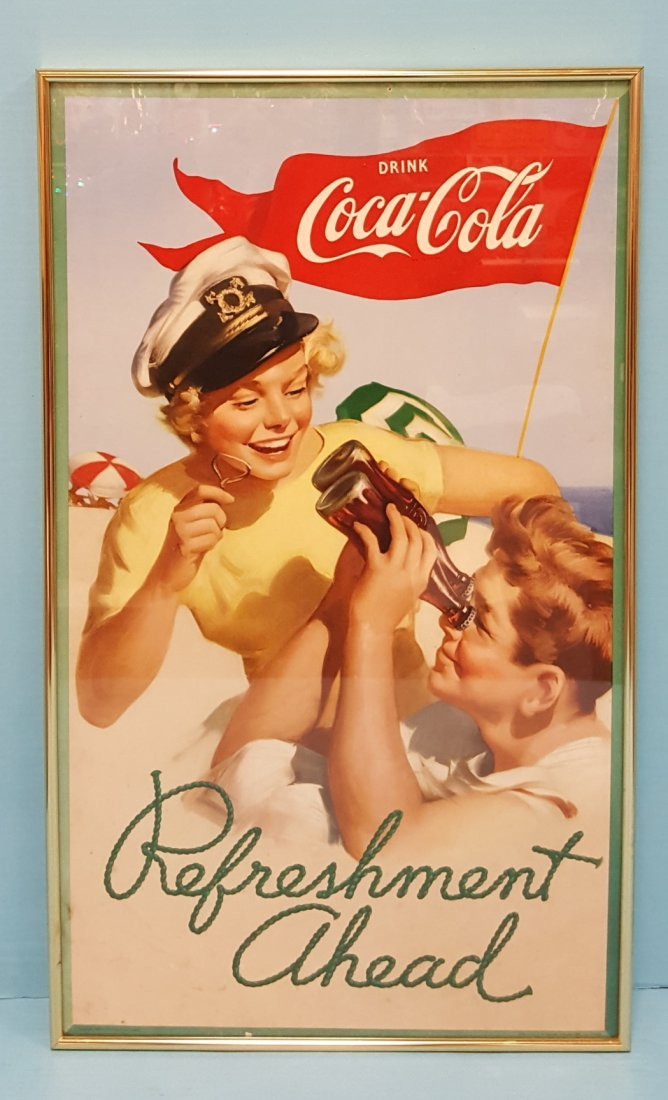 1952 Drink Coca Cola Refreshment Ahead Cardboard Sign