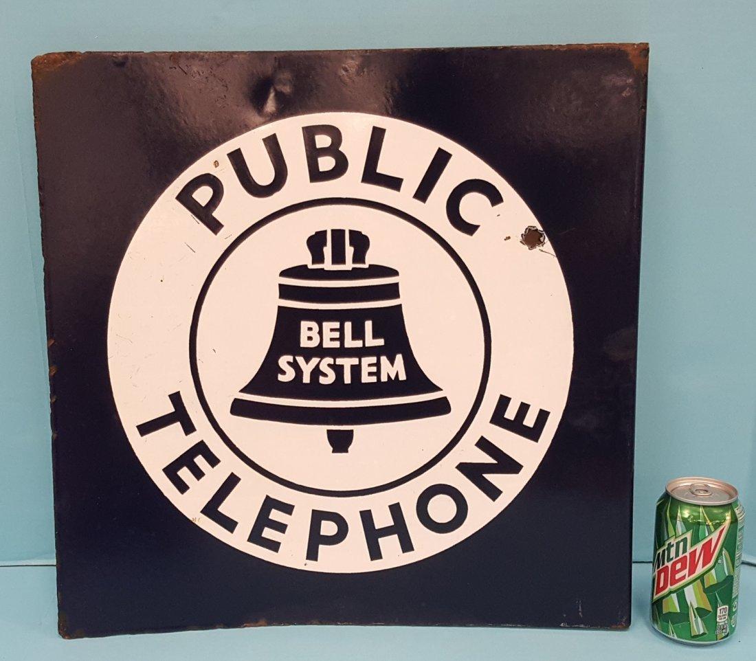 Porcelain Bell System Public Telephone Flange Sign