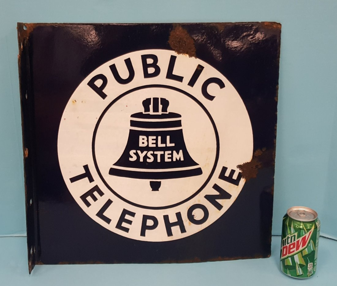 Porcelain Bell System Public Telephone Flange Sign - 2