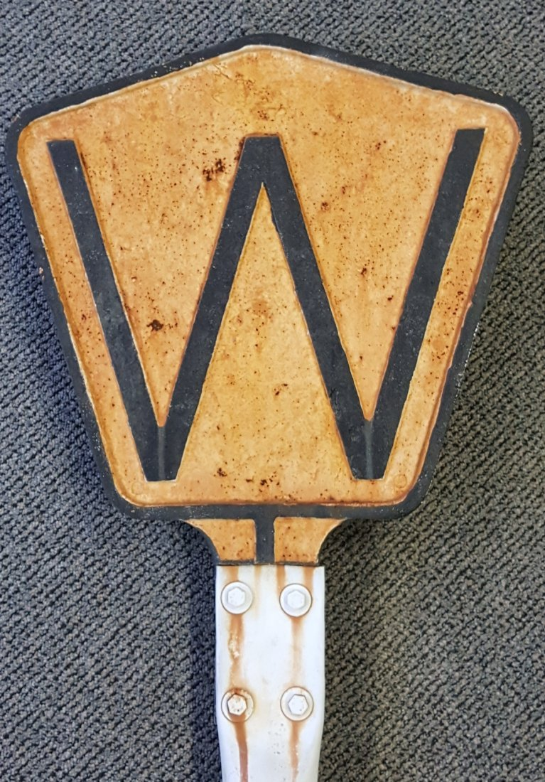 Cast Iron Railroad Whistle Sign w Pole