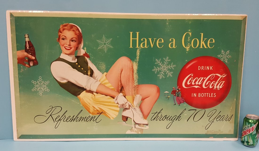 1955 Coca Cola cardboard sign Have a Coke