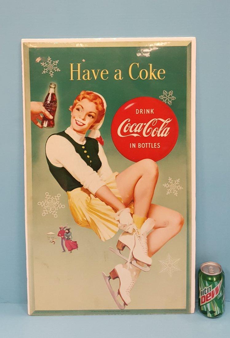 1955 Coca Cola cardboard Vertical Sign Have a Coke